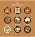 set of korean food flat design asia street food vector image vector image