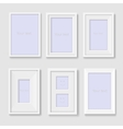 Set of white photo frames on the wall vector image vector image