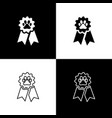 set pet award symbol icons isolated on black and vector image
