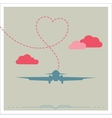 silhouette a plane with heart vector image