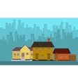 Silhouette of city with house flat vector image