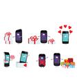 smartphones in a gift vector image vector image