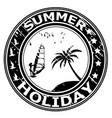 summer holiday rubber stamp with palm tree and vector image