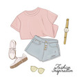 tee shorts sneakers sunglasses and watches vector image vector image