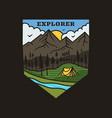 vintage mountain explorer logo adventure emblem vector image vector image