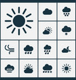weather icons set with heavy rain crescent vector image vector image