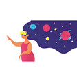 woman in vr glasses look at space on star vector image