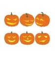Set cheerful funny and angry pumpkins at vector image