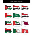 arab states waving flag set vector image