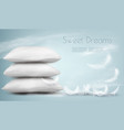 background with pillows and white feathers vector image