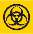 biohazard dangerous sign isolated on yellow vector image vector image