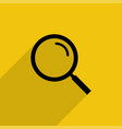 black magnifying glass with shadow in flat style vector image vector image