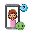 call center girl in smartphone support helpline vector image
