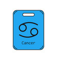 Cancer sign of the zodiac flat symbol horoscope vector image