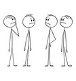 cartoon group men or businessmen thinking vector image