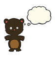 cartoon happy black bear with thought bubble vector image vector image