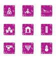 cold playground icons set grunge style vector image vector image
