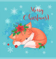 cute cartoon sleeping fox greeting card for new vector image