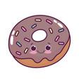 cute food donut sweet dessert kawaii cartoon vector image