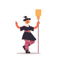 cute girl wearing witch scarecrow costume woman vector image