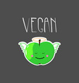 cute with angel apple and vegan word vector image vector image