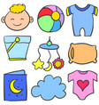 doodle of object baby various set vector image vector image