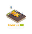 driving school isometric composition vector image vector image