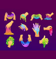 funny colorful homemade slimes holding in hand vector image