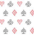 Hand drawn sketched Playing cards symbol seamless vector image vector image