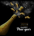 happy new year 2019 champagne gold card vector image vector image