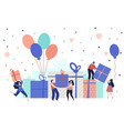 happy people with gifts event smile person funny vector image vector image