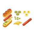 hotdog ingredients and separate layers shown for vector image