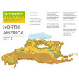 isometric 3d north america physical map elements vector image vector image