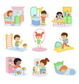 kids everyday activities set children daily vector image vector image