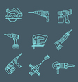 light outline house remodel power tools icons on vector image vector image