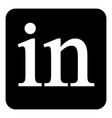 linkedin icon on white vector image vector image