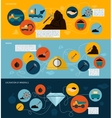 Mining icons flat banner set vector image vector image