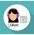 Music design girl icon White background vector image