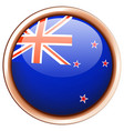 new zealand flag on round badge vector image vector image