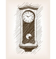 Old clock with pendulum hand drawn sketch vector image