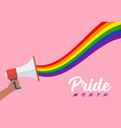 people hold megaphone with lgbt rainbow pride vector image vector image