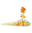 Postbox over floral landscape vector image vector image