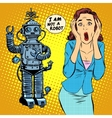 Science fiction horror robot woman panic vector image vector image