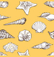 seamless pattern sketches various seashells vector image
