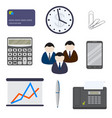 set of nine business items isolated on a white vector image
