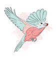 small bird feeding with red berry autumn vector image vector image