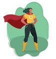 super heroine watching over city vector image