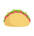 taco tomatoes lettuce food tradition mexico icon vector image