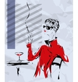 The girl in a red coat sits at a little table of vector image