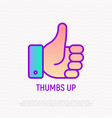 thumbs up thin line icon hand gesture success vector image